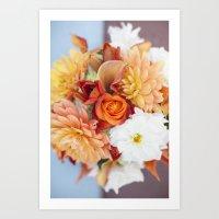 orange, yellow and white flowers  Art Print