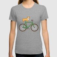 Corgi On A Bike Womens Fitted Tee Tri-Grey LARGE
