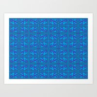 Blue Green Layers Art Print