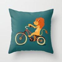 Lion on the bike Throw Pillow