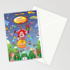 Santa has a Zeppelin to Deliver Christmas Gifts Stationery Cards