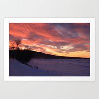 Wintry Sunset Over The P… Art Print