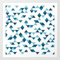Triangles Blue Art Print