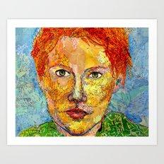 Map Scrap Self Portrait Art Print