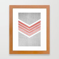 Coral Gradient Chevron O… Framed Art Print