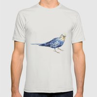 Blueberry the Budgie Mens Fitted Tee Silver SMALL