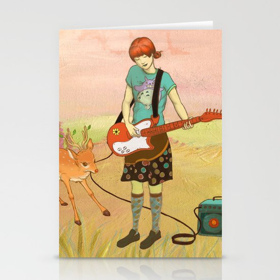 Guitar Fawn Stationery Card