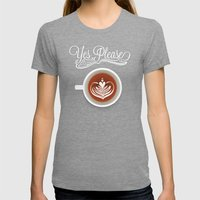 Yes Please Womens Fitted Tee Tri-Grey SMALL