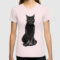 Black Cat Womens Fitted Tee Light Pink SMALL