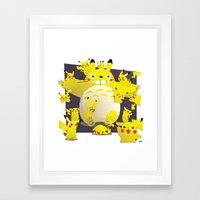 Totoro & Pikachu Framed Art Print