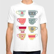 Tea Cups Mens Fitted Tee White SMALL
