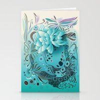 Subsea floral Stationery Cards