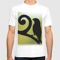 Bird On The Ironwork Mens Fitted Tee White SMALL