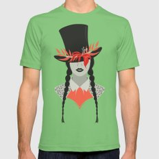 Lady in Hat Mens Fitted Tee Grass SMALL