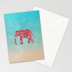 Whimsical Colorful Elephant Tribal Floral Paisley Stationery Cards