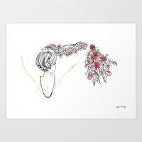 rose shower Art Print