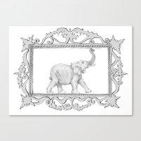 Grey Frame With Elephant Canvas Print
