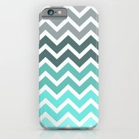 iPhone Cases featuring Tiffany Fade Chevron Pattern by RexLambo
