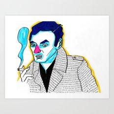 blue hair with a cigarette Art Print