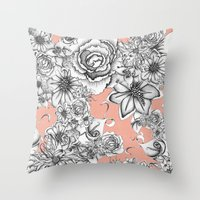 B&W Flowers Coral Throw Pillow