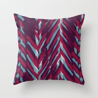 Pink and Blue Painterly Chevrons Throw Pillow