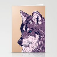Blue Eyed Wolf Stationery Cards