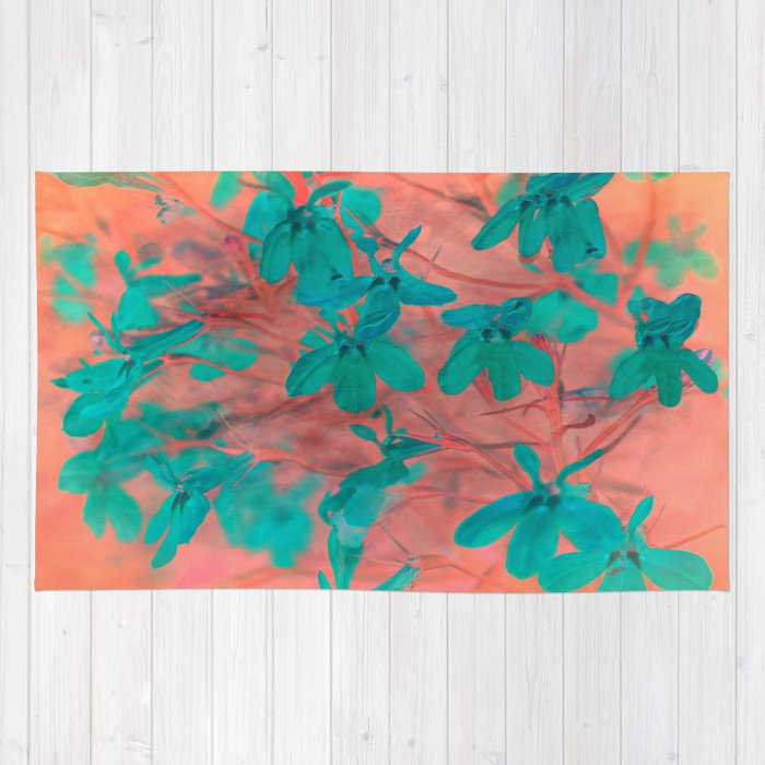 Peach And Turquoise Floral Rug By Judy Palkimas