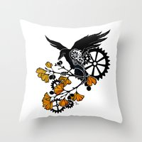 Raven And Ginkgo - Autum… Throw Pillow