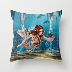 Mermaid holding Sea Lily Throw Pillow