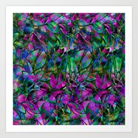 Floral Abstract Stained Glass G276 Art Print