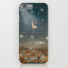 Illustration of  cute houses and  pretty girl   in night sky iPhone 6 Slim Case