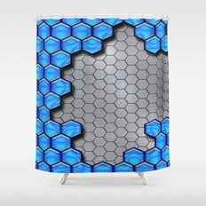 Blue Metallic Scale Shower Curtain