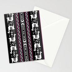 Llamas_Fuchsia stripes Stationery Cards