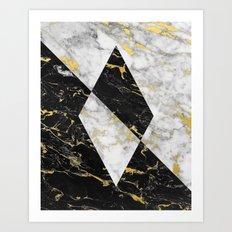 Diamond // Gold Flecked Black & White Marble Art Print