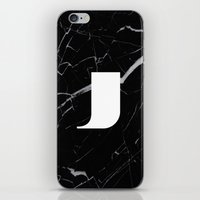 Black Marble - Alphabet J iPhone & iPod Skin