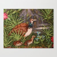 Mom and Babys (The Land Of The Peacocks) Canvas Print