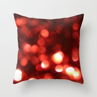Red Blurred Lights Throw Pillow