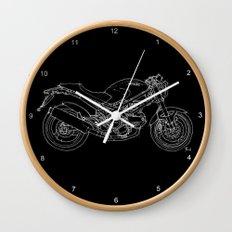 Black Ducati Monster White ink Wall Clock