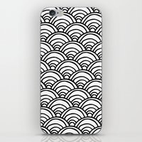 Waves All Over - Black A… iPhone & iPod Skin