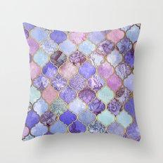 Royal Purple, Mauve & Indigo Decorative Moroccan Tile Pattern Throw Pillow