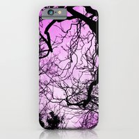 Purple evening moon through the trees iPhone 6 Slim Case