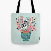 Tea And Flowers - Black … Tote Bag