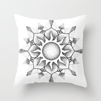 Dotwork Mandala Throw Pillow