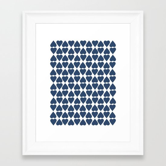 Diamond Hearts Repeat Navy Framed Art Print