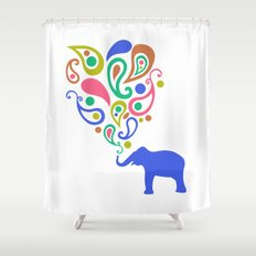 Multi-Colored Paisley Elephant Pattern Design Shower Curtain
