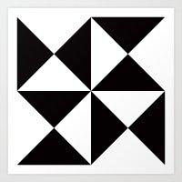 B/W triangle X4 pattern Art Print