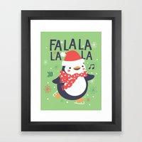 Fa la la penguin Framed Art Print