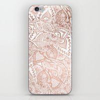 Chic hand drawn rose gold floral mandala pattern iPhone & iPod Skin