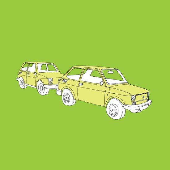Lime Green Cars Art Print