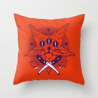 Hell Kitten Throw Pillow